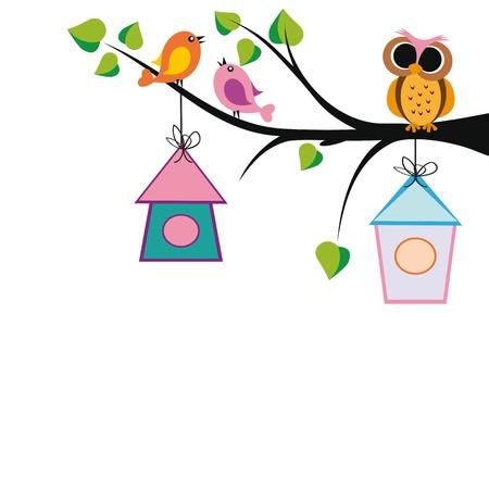 かわいい子供たちの背景に木、鳥