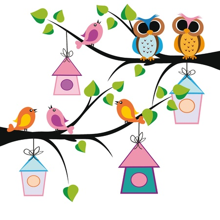 insect on leaf: Cute kids background with trees and birds