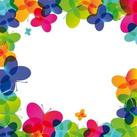 cute border: Carta colorata su un occasione speciale con farfalla