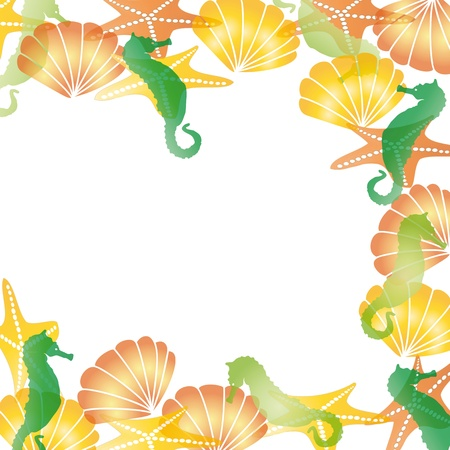summer border: Colorful sea card  with shells and sea horses