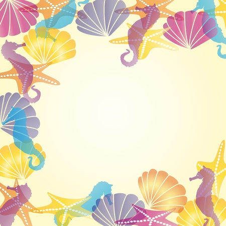 conch shell: Colorful sea card  with shells and sea horses
