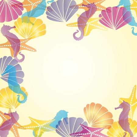 seahorse: Colorful sea card  with shells and sea horses