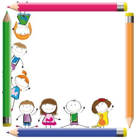 nursery: Frame with happy kids and colorful crayons