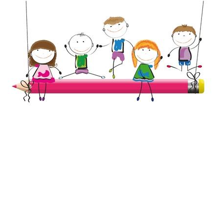 vivero: Niños felices en columpio rojo con lápices de colores