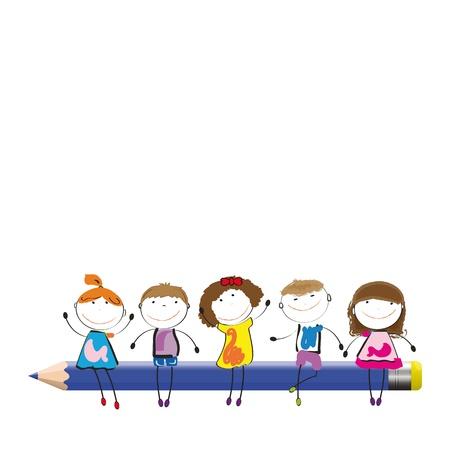 kinder: Felices los ni�os de colores en el escritorio con l�pices de colores