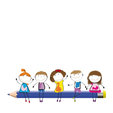 preschool child: Happy colorful kids on desk with crayon Illustration