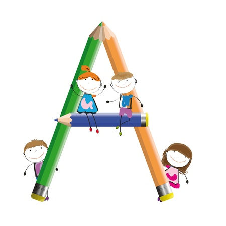 Happy kids and letter A with crayons