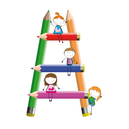crayons: Happy kids and colorful ladder with crayons