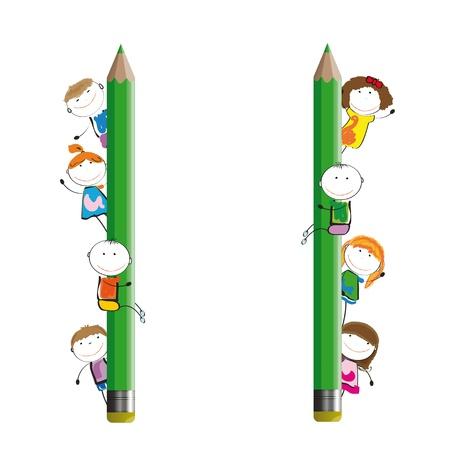 ni�os con l�pices: Ni�os felices y colorida pancarta con l�pices de colores