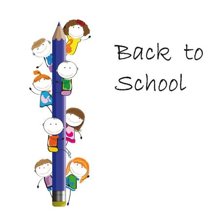 ni�os en la escuela: Felices los ni�os de colores en l�piz azul oscuro