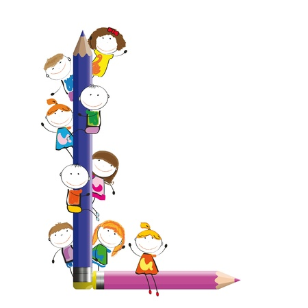 Niños felices y L carta con lápices de colores