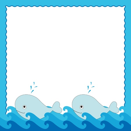 Blue sea frame with cute two whales Vector