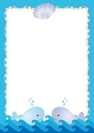 conch shell: Blue sea frame with cute two whales