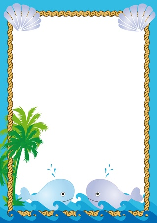 conch: Tropical frame with sea, palms and whales Illustration