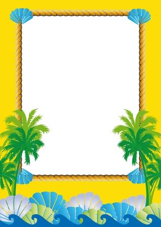cute border: Exotic cornice gialla con vista mare, palme e conchiglie