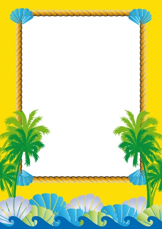 border cartoon: Exotic yellow frame with sea, palms and shells
