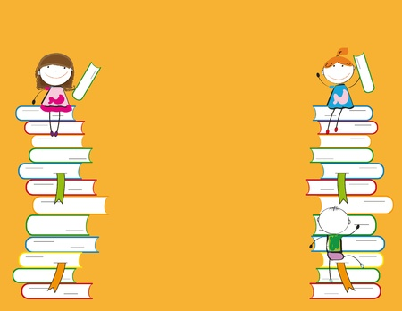 animated action: Happy colorful kids on many colorful books