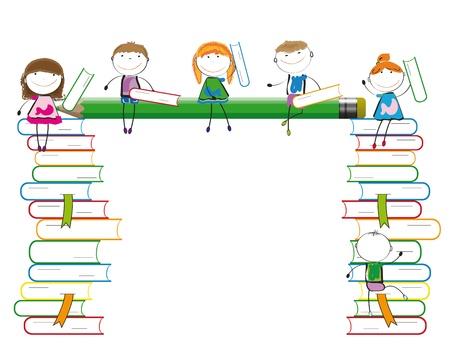 libro caricatura: Felices los ni�os de colores en muchos libros de colores