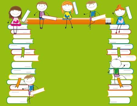 Gl�ckliche Kinder auf bunten viele bunte B�cher Illustration