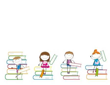 Happy colorful kids on many colorful books Stock Vector - 13331418