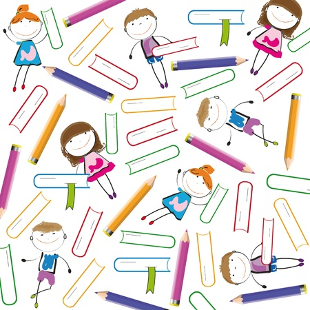 animated boy: Colorful kids background with books and crayons Illustration