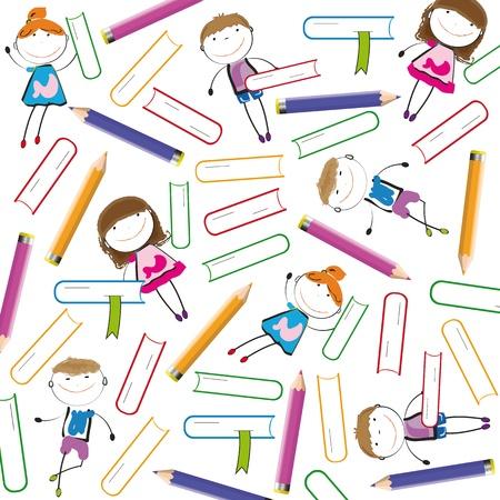 libro caricatura: Los ni�os de colores de fondo con libros y l�pices de colores