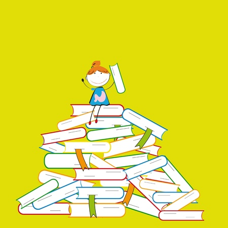 Happy colorful kids on many colorful books Vector