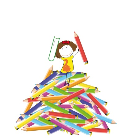 Happy colorful kids on many colorful crayon Stock Vector - 13331419