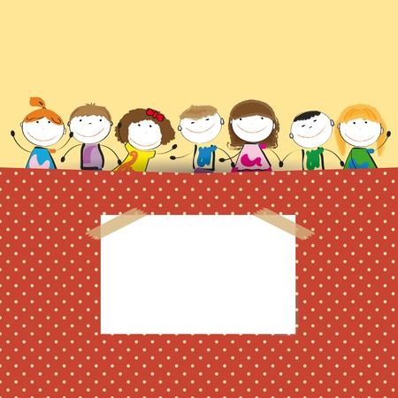 nice smile: Colorful background with dots with happy small kids  Illustration