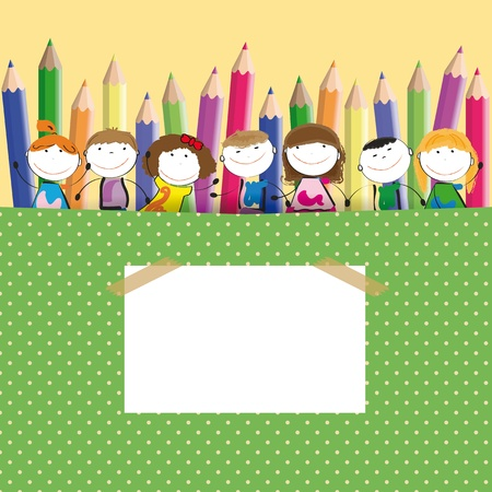 preschool: Background with happy kids and colorful crayons
