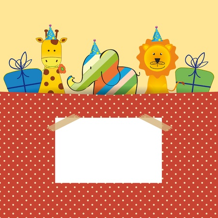Cute colorful card on your happy birthday Vector