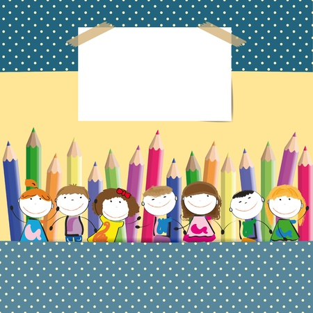 Background with happy kids and colorful crayons