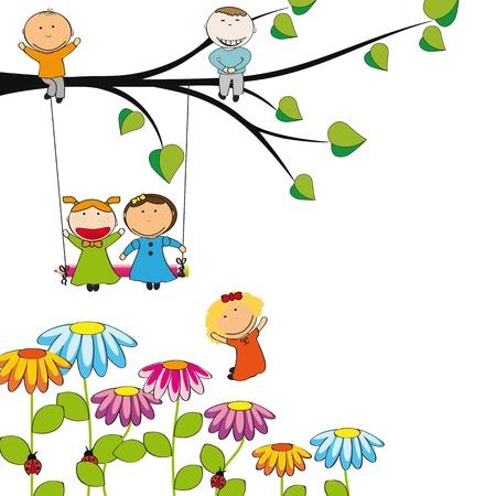 columpios: Los niños pequeños y felices en el jardín colorido