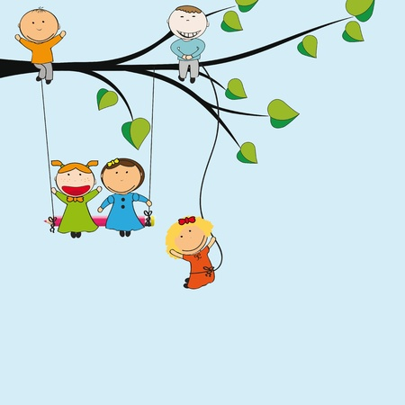 Small and happy kids on green tree Vector