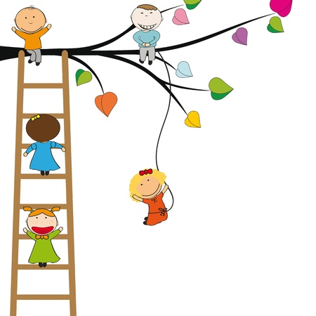 Small and happy kids on colorful tree Vector