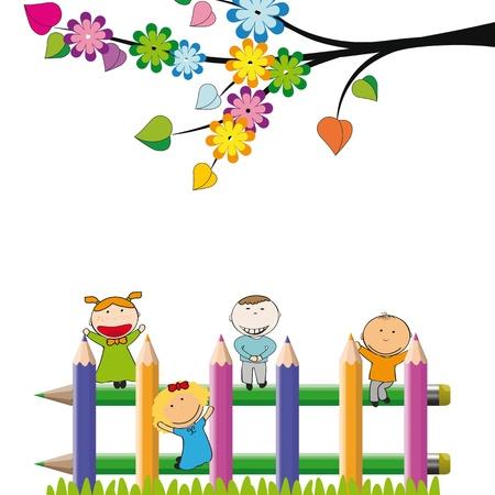 ecole maternelle: Les petits enfants et heureux sur la cl�ture color�e