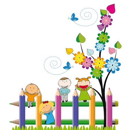 niños jugando en la escuela: Los niños pequeños y felices en la valla de colores