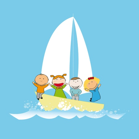 animated action: Small and happy kids  on small boat Illustration