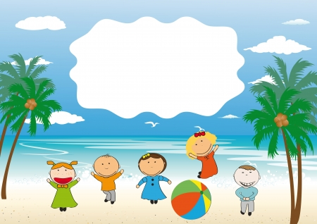 animated action: Small and happy kids on beach