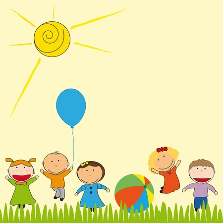 nursery: Small and happy kids  in sammer garden Illustration