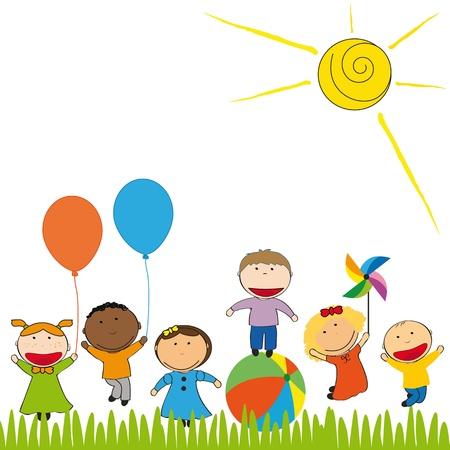 niños jugando en la escuela: Los niños pequeños y felices en el jardín colorido