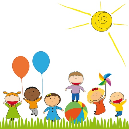 children group: Small and happy kids  in colorful garden Illustration