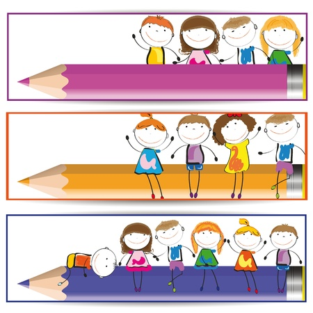 Banners with happy kids and colorful crayons Vector