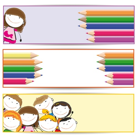 school frame: Banners with happy kids and colorful crayons