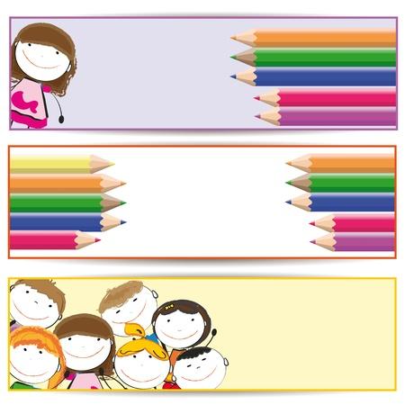 Pancartas con niños felices y crayones de colores