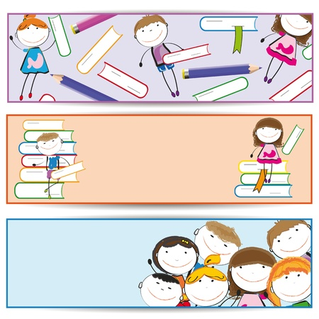 Banners with happy kids and colorful crayons and books