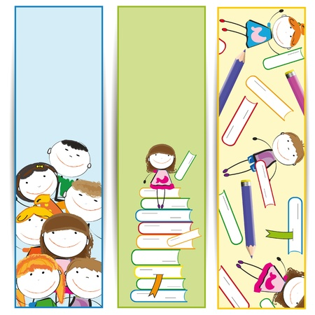 Background with happy kids and colorful crayons and books Stock Vector - 13567562