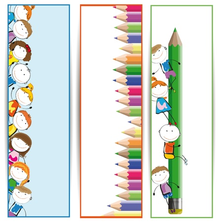 cartoon school girl: Background with happy kids and colorful crayons