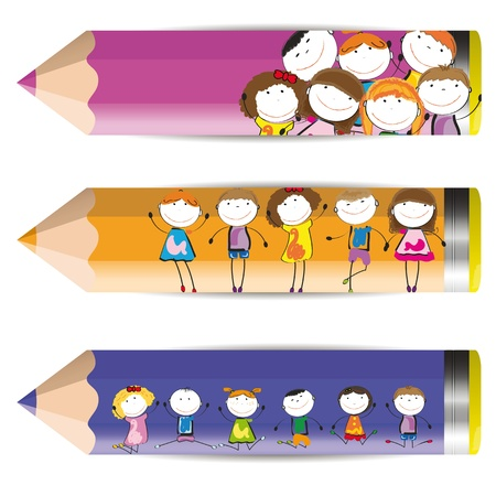 nursery: Background with happy kids and colorful crayons