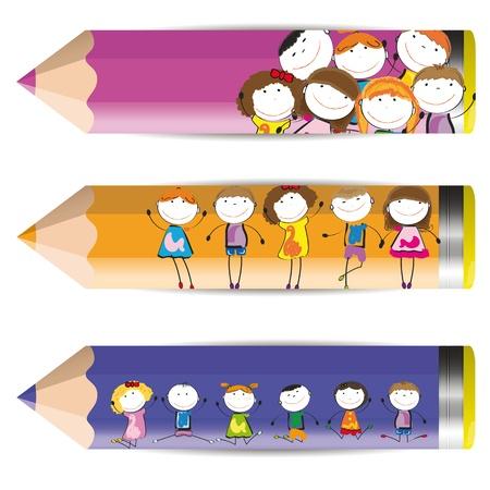 trẻ em: Nền với đứa trẻ hạnh phúc và bút chì màu đầy màu sắc